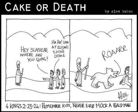 Cake or Death Cartoon 127 (Bald Man Cartoon August 27 2009)