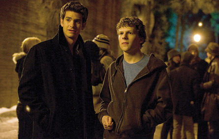 Facebook co-founders Mark Zuckerberg (right, played by Jesse Eisenberg) and Eduardo Saverin